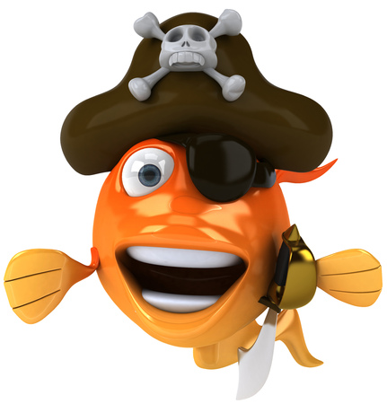 Cartoon pirate fish