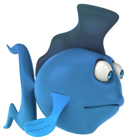 gills: Cartoon blue fish feeling sad Stock Photo