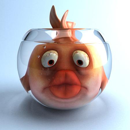 Cartoon fish in a glass bowl Stok Fotoğraf