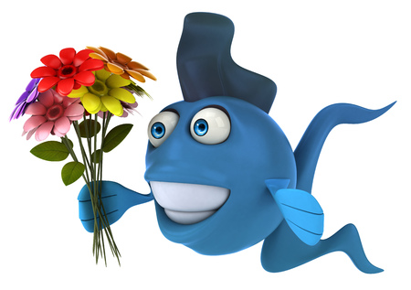 gills: Cartoon blue fish with flowers
