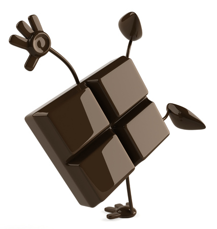 Cartoon chocolate bar doing handstand Stock Photo