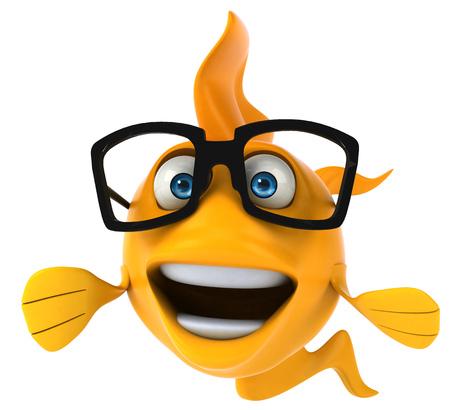 gills: Cartoon yellow fish with glasses