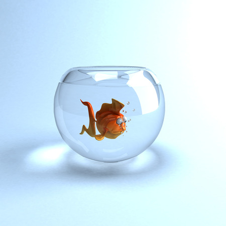Cartoon fish in a glass bowl Stock Photo