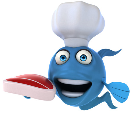 scale: Cartoon fish with chef hat and meat Stock Photo