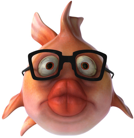 Cartoon fish with glasses on Stock Photo