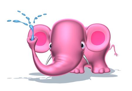 Cartoon roze olifant