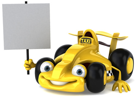 Cute sports car holding a signboard Stock Photo
