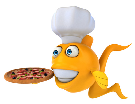 scale: Cartoon fish with chef hat and pizza Stock Photo