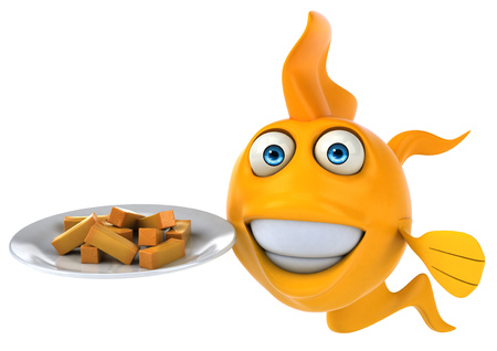 Cartoon fish with french fries on plate Stock Photo