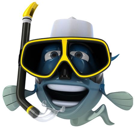 gills: Cartoon fish with snorkel mask Stock Photo