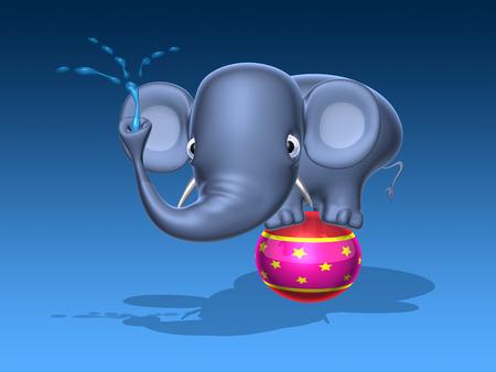 Cartoon olifant met waterslang