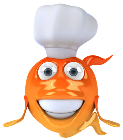 gills: Cartoon fish with chef hat