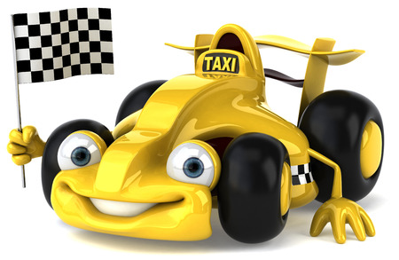Cartoon racing car with taxi concept holding race flag