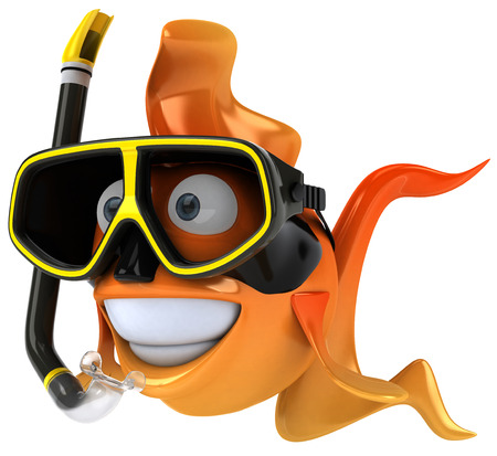 Cartoon fish with snorkel mask Stock Photo