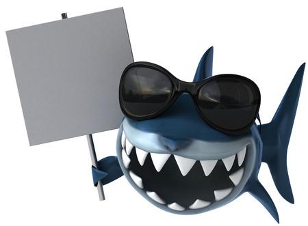 サングラスと看板漫画サメ