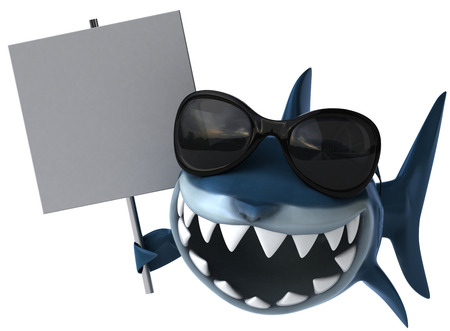 Cartoon shark with sunglasses and signboard