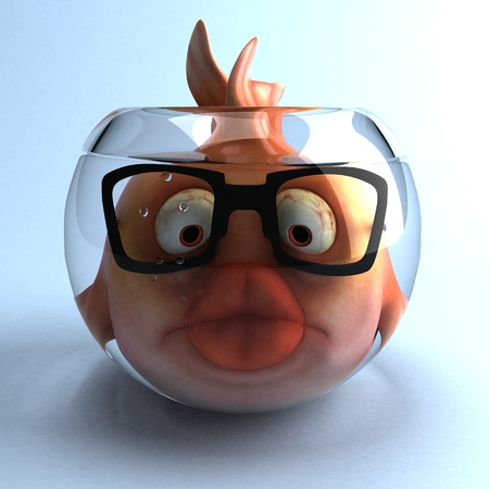 Cartoon fish with glasses in a fish bowl Stock Photo