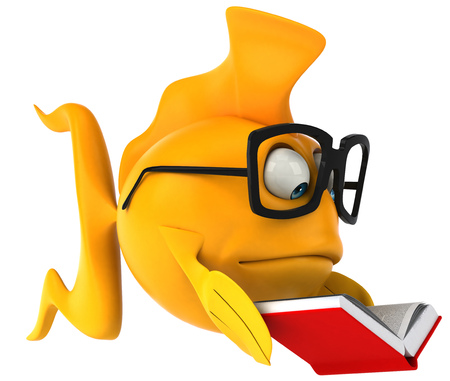 gills: Cartoon fish with glasses and book