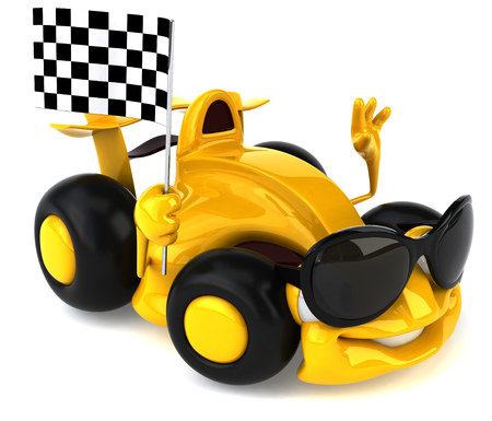 checker: Cartoon yellow racing car holding race flag