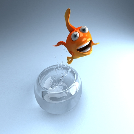 Cartoon fish jump out of glass bowl
