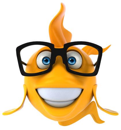 眼鏡の漫画の魚 写真素材