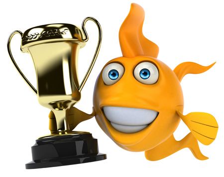Cartoon fish with a trophy Stok Fotoğraf