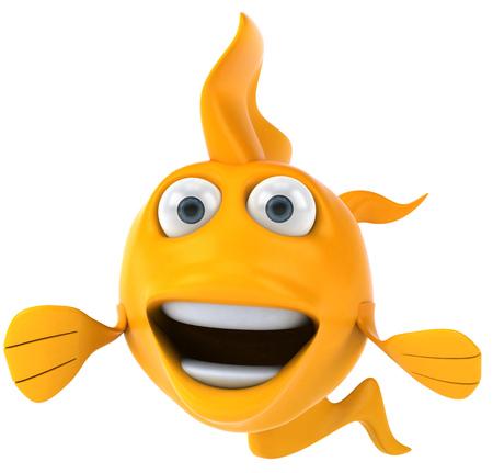 만화 노란 물고기 미소