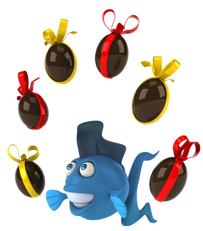 gills: Cartoon fish with chocolate Easter eggs