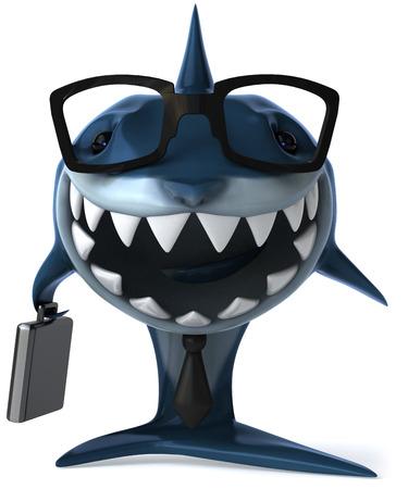 Cartoon shark with business concept Stock Photo