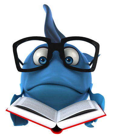 Cartoon fish with glasses and book