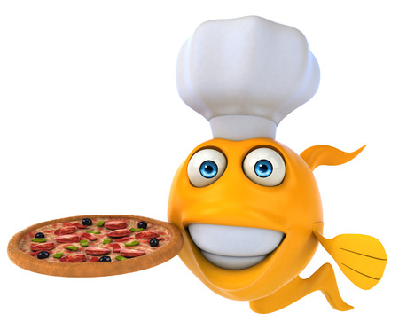 gills: Cartoon fish with chef hat holding pizza