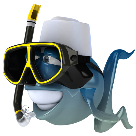 Cartoon fish with chef hat and snorkel mask