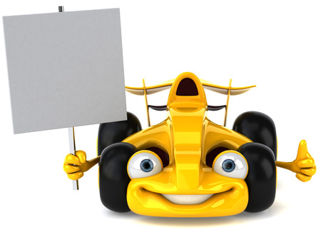 Cartoon yellow racing car holding a signboard Stock Photo