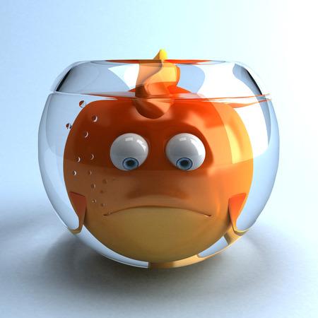 Cartoon fish trap in glass bowl