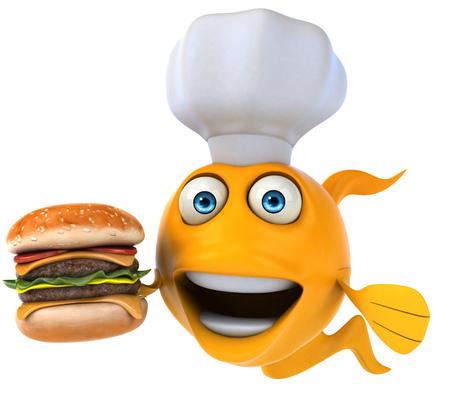 gills: Cartoon fish with chef hat and hamburger Stock Photo