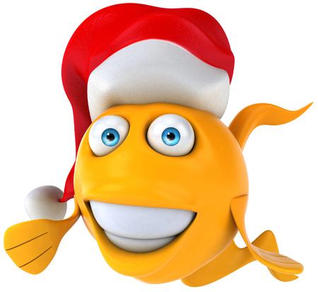 gills: Cartoon fish with Santa hat Stock Photo