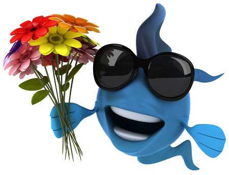 Cartoon fish with sunglasses and flowers Stock Photo
