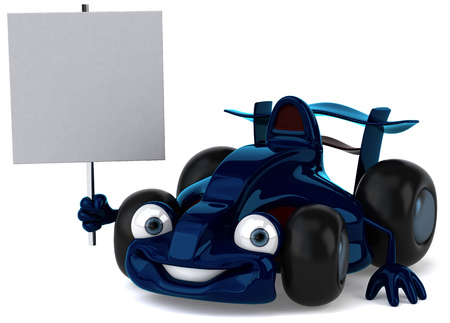 Cartoon blue racing car holding a signboard Stock Photo