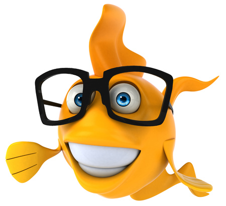 Cartoon fish with glasses smiling