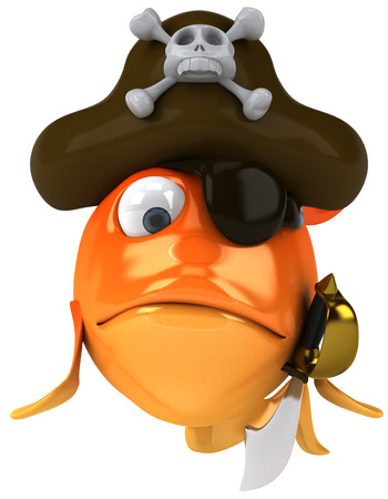 eyepatch: Cartoon fish with pirate hat Stock Photo