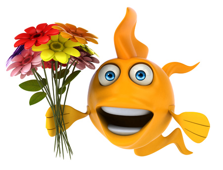 Cartoon fish with flowers Stock Photo