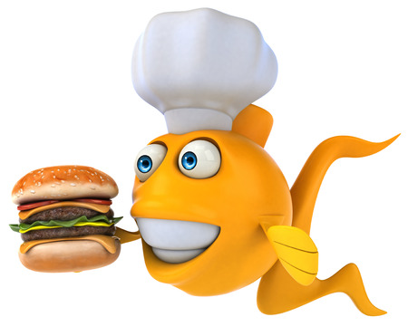 gills: Cartoon fish with chef hat and burger