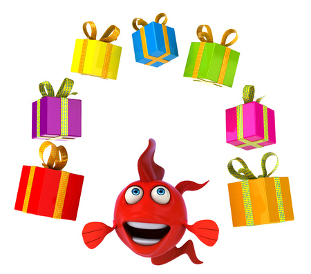 gills: Cartoon fish with gift boxes