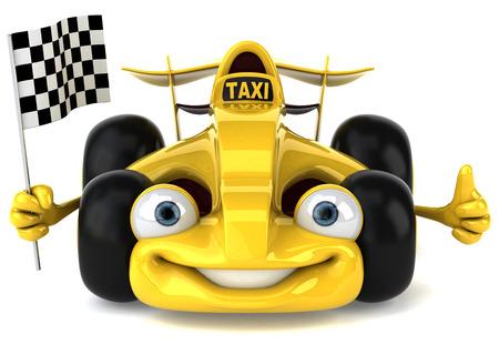 Cartoon racing car with taxi concept holding race flag