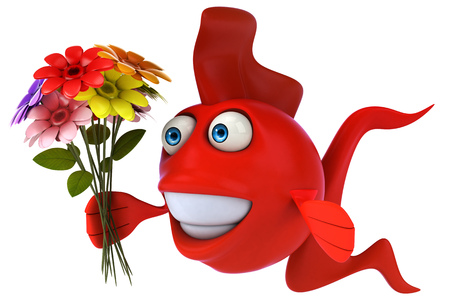 Cartoon red fish with flowers
