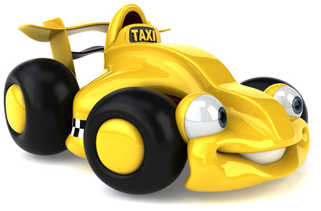Cartoon yellow racing car with taxi concept Stock Photo