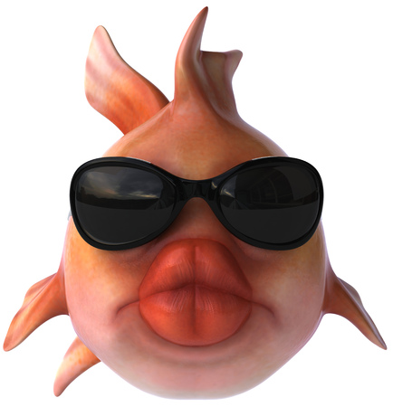 Cartoon fish with sunglasses