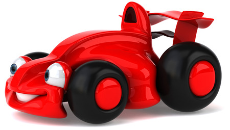 Cartoon red racing car is smiling
