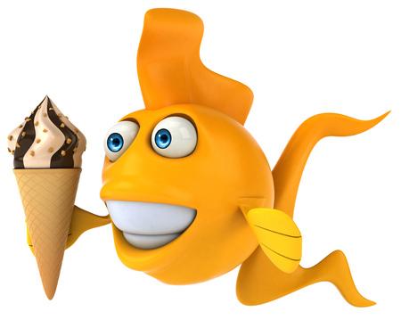Cartoon fish with ice cream Stock Photo