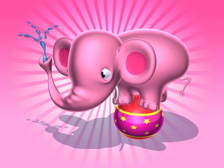Cartoon pink elephant with water hose